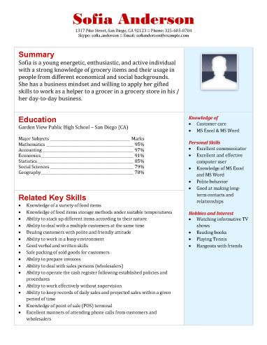 Grocery-Store-Application-Resume educational Pinterest