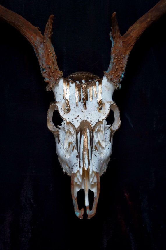 Drip Painted 8 Point Whitetail Deer Skull Gold Rust