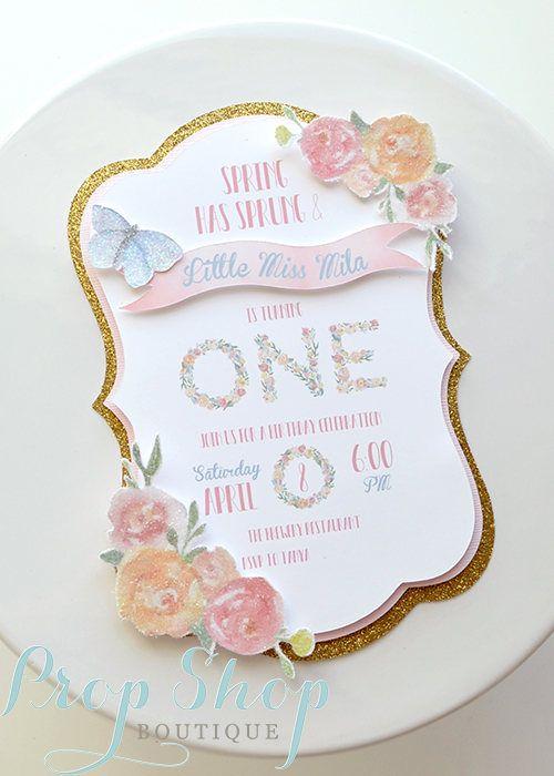 Girl S Spring Garden Butterfly Birthday Invitation Layered