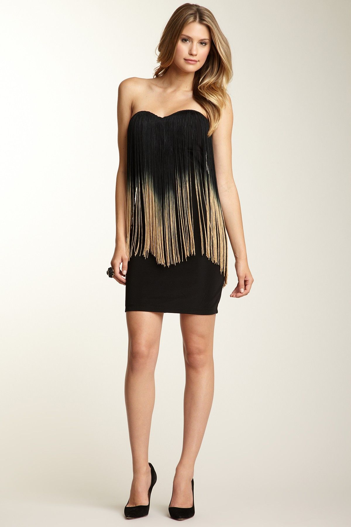 Sara boo ombre fringe strapless dress my favorite beautiful people