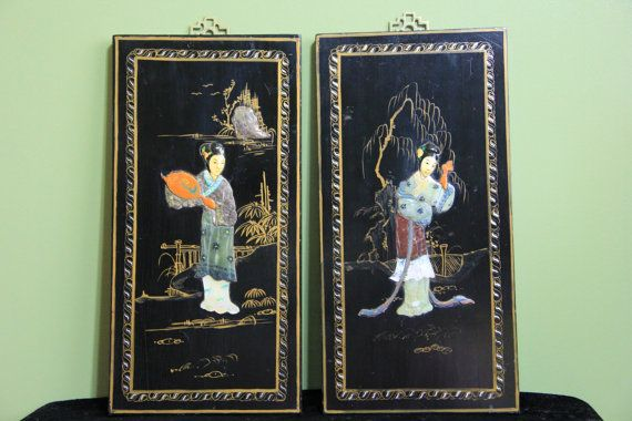 Wonderful Pair of Oriental Plaques by ifoundthat on Etsy, $35.00