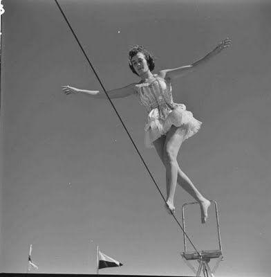 1950\u0027s Tightrope walker vintage circus performer.