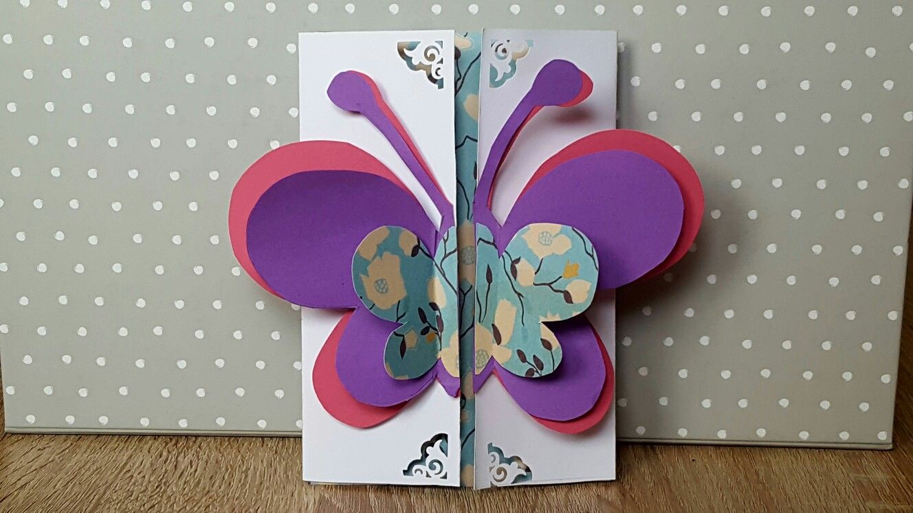 Birthday Card with Butterfly on top...watch the Video on You Tube..Ellie's Handmade...