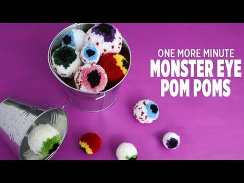 One More Minute How to Make Monster Eye Pom Poms - YouTube помпон - how to make halloween decorations youtube