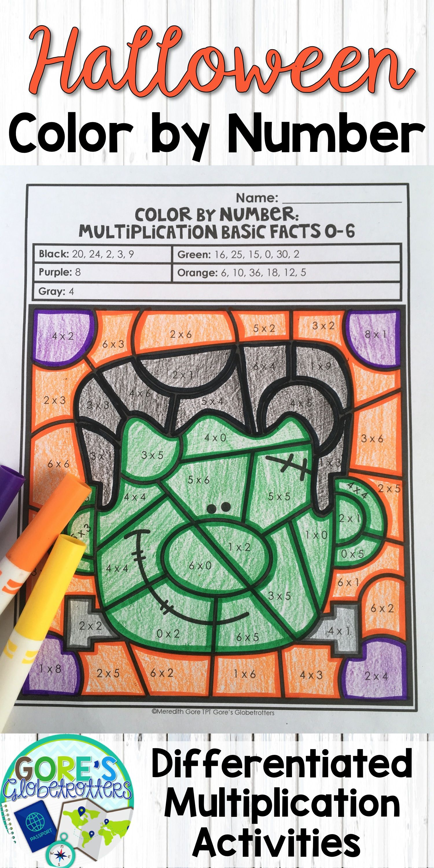 Halloween Math Color by Number - Differentiated Multiplication ...