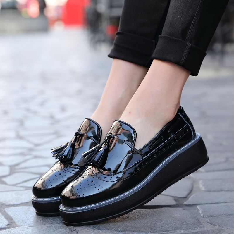 196a66c0d667 Oxford Flats Platform shoes Patent Leather Tassel-front slip-on Brogue  pointed toe Creeper black wine red 365