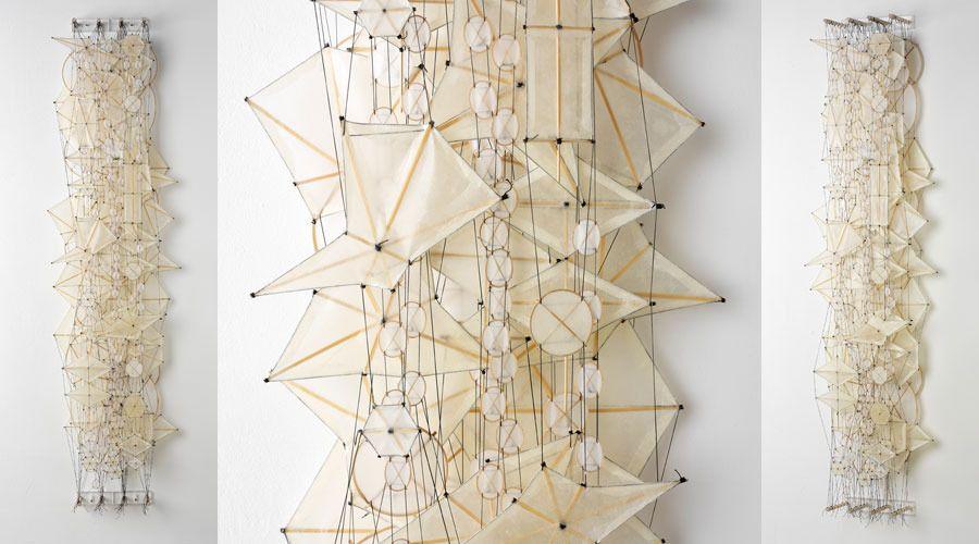 "Jacob Yashimoto. ""Odds and Ends"". Paper, bamboo, acrylic, Dacron."