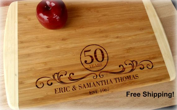 5th Anniversary 25th 50th Wedding Gift Cutting Board Engraved Personalized