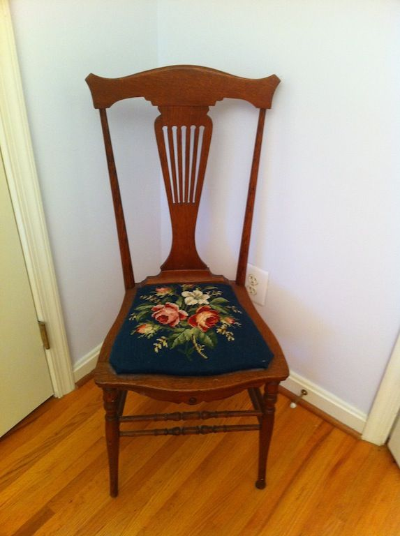 vintage lyre back chair with needlepoint cushion goblen needlepoint chair cushions for sale. Black Bedroom Furniture Sets. Home Design Ideas