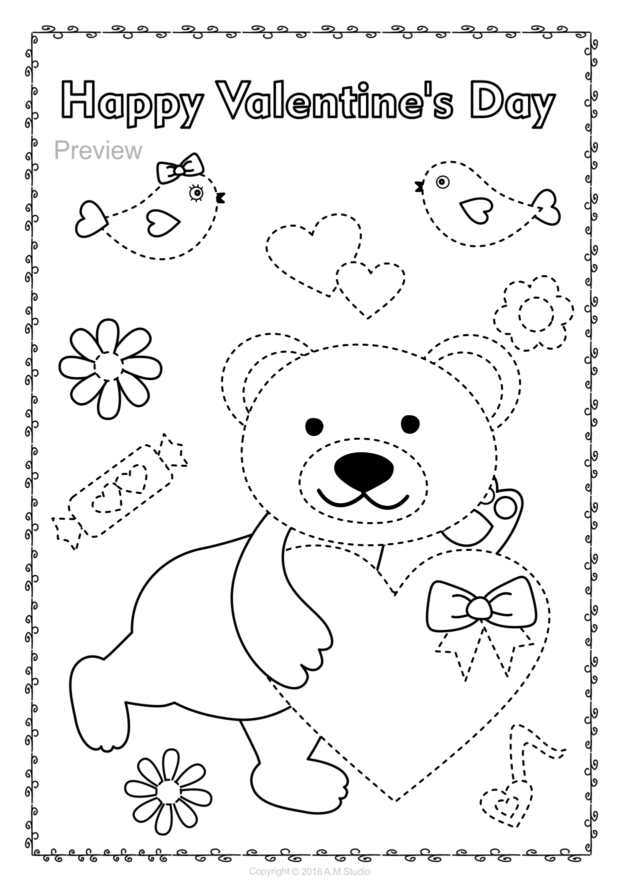 Help Your Child Develop Their Pre Writing And Fine Motor Skills With Valentine S Day Themed Trace Coloring Pages Happy Groundhog Day Super Mario Coloring Pages [ 1759 x 1240 Pixel ]