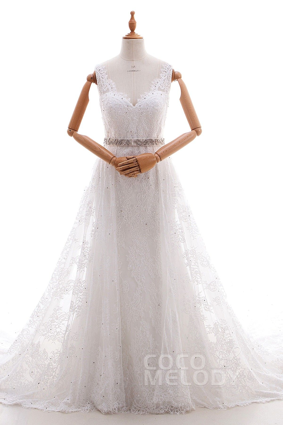 Lace wedding dress with train  ALine Cathedral Train Tulle and Lace Wedding Dress LD
