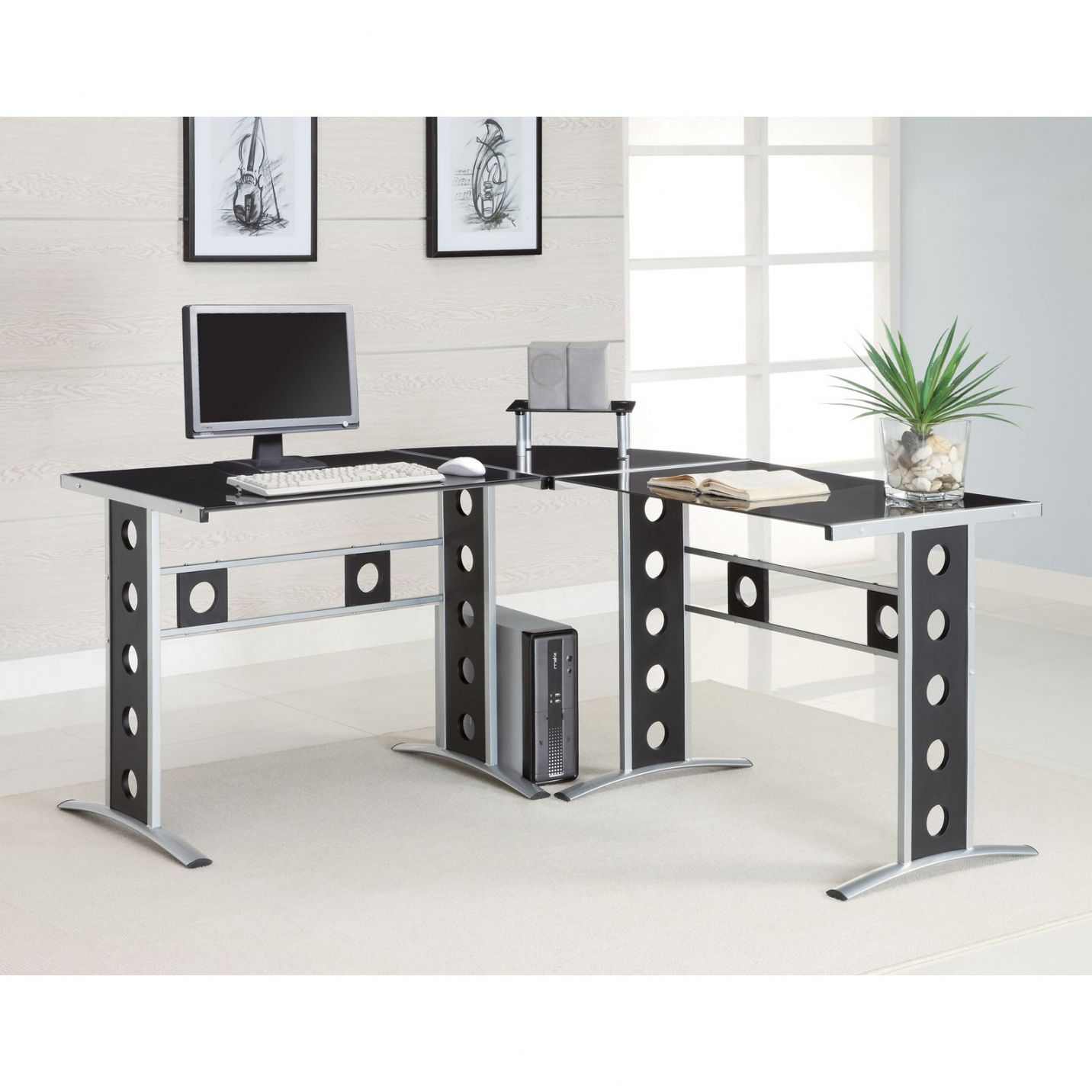 Modern L Shaped Computer Desk - Large Home Office Furniture Check ...