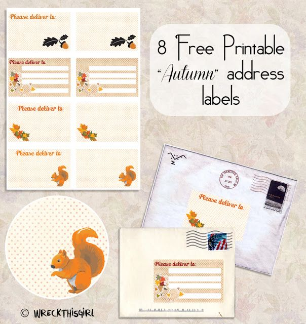 FREE printable autumn address labels with squirrel // Wreck This ...