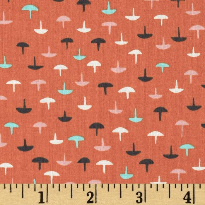 Cotton & Steel Lawn Homebody Tacks Coral from @fabricdotcom  Designed by Kimberly Kight for Cotton + Steel, this very lightweight fabric is a finely woven, high count combed cotton lawn that is very soft and has an ultra smooth hand. It is perfect for flirty blouses, dresses, shirts, lingerie, tunics, tops and even quilting. Colors include charcoal, aqua, pink and white on a coral orange background.