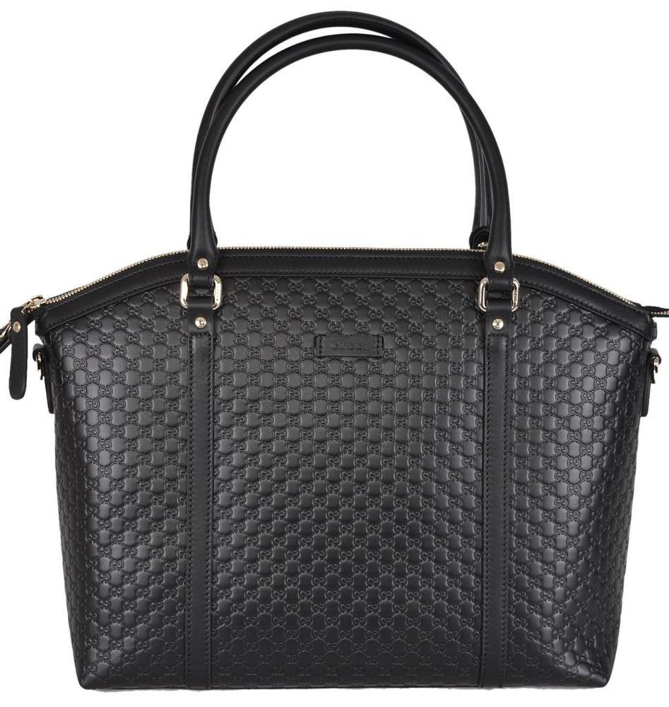 13901e06750 NEW Gucci 449657 Black Leather Micro GG Guccissima Crossbody Dome Purse   Gucci  MessengerCrossBody
