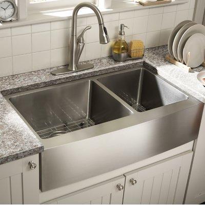 Cahaba 36 L X 21 W Double Basin Farmhouse Apron Kitchen Sink With Grid Set Farmhouse Sink Kitchen Kitchen Remodel Kitchen Design