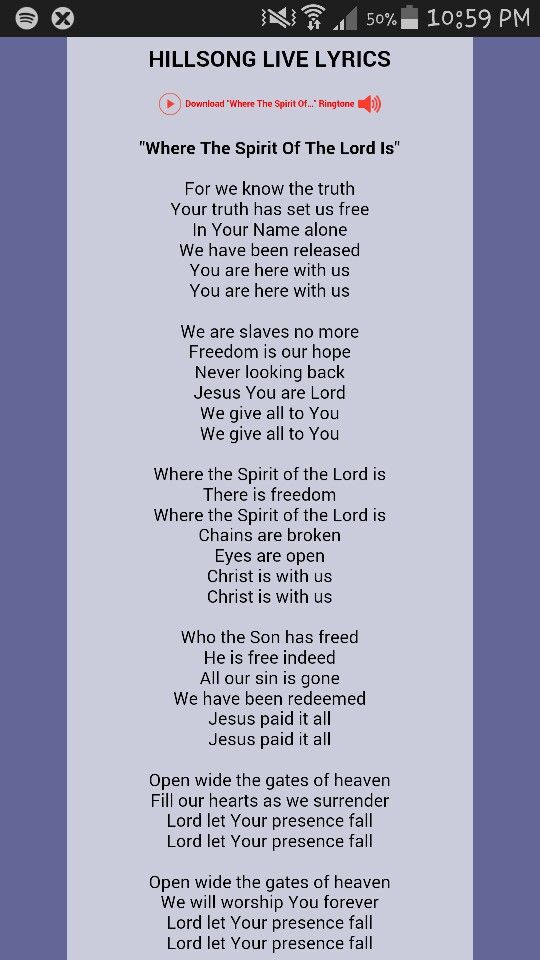 Lyric freedom lyrics gospel : Where the Spirit of the Lord is | My Faith My Father His Will ...