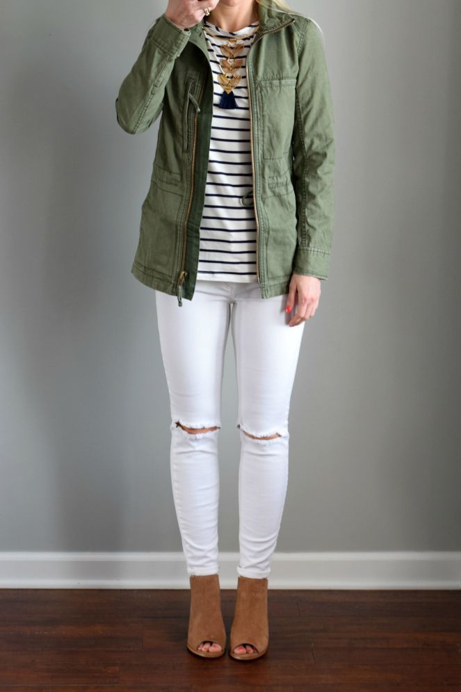 Madewell 'Fleet' Jacket and Amour Vert 'Francoise' Nautical Long Sleeve Top