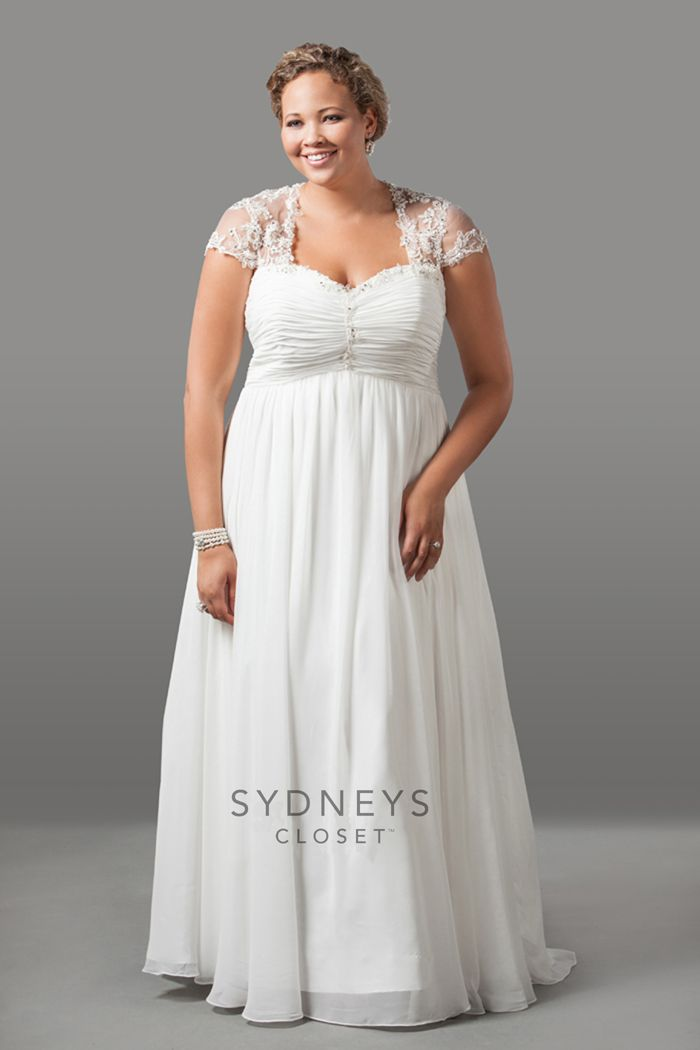 Romantic Chiffon Wedding Dress With Cap Sleeves Plus Size Sydneys Closet