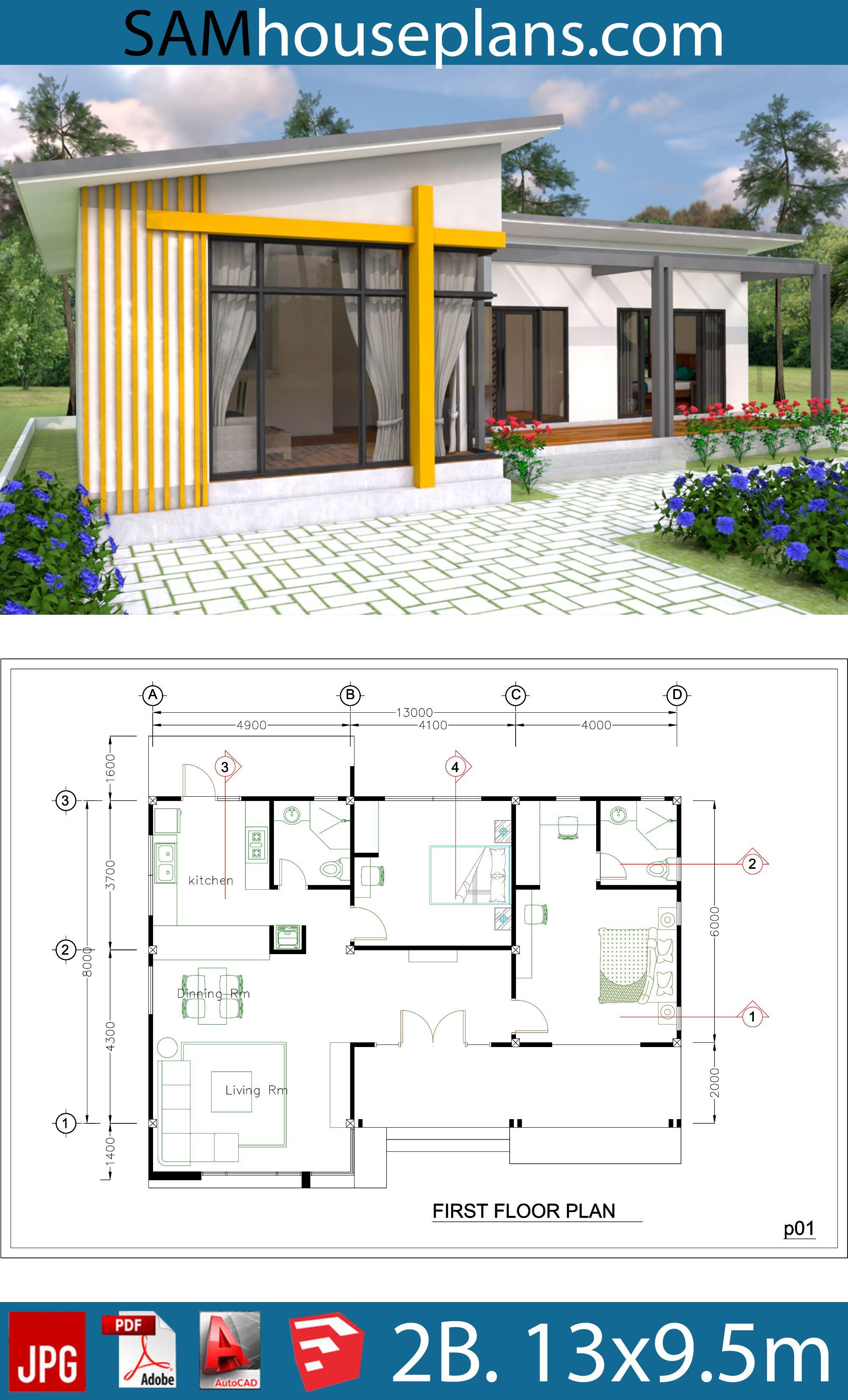 House Plans 13x9 5m Full Plan 2beds Sam House Plans House Plans Architectural Design House Plans House Design