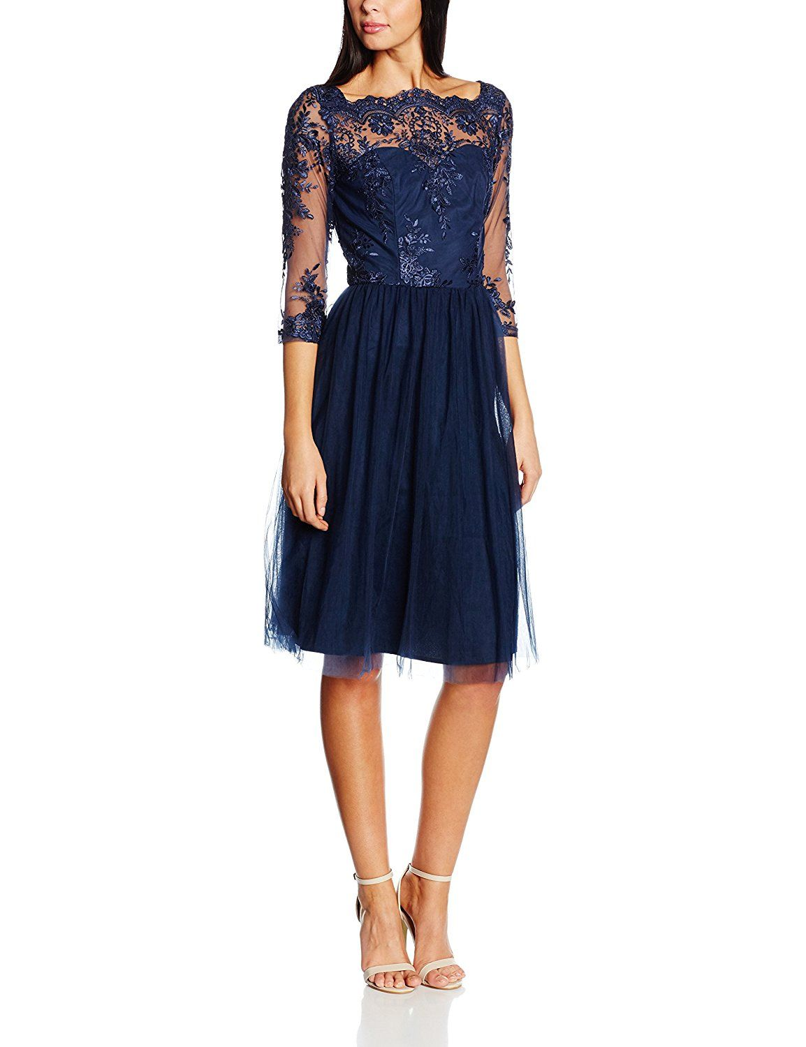 chi chi london damen kleid embroidered midi, blau (navy