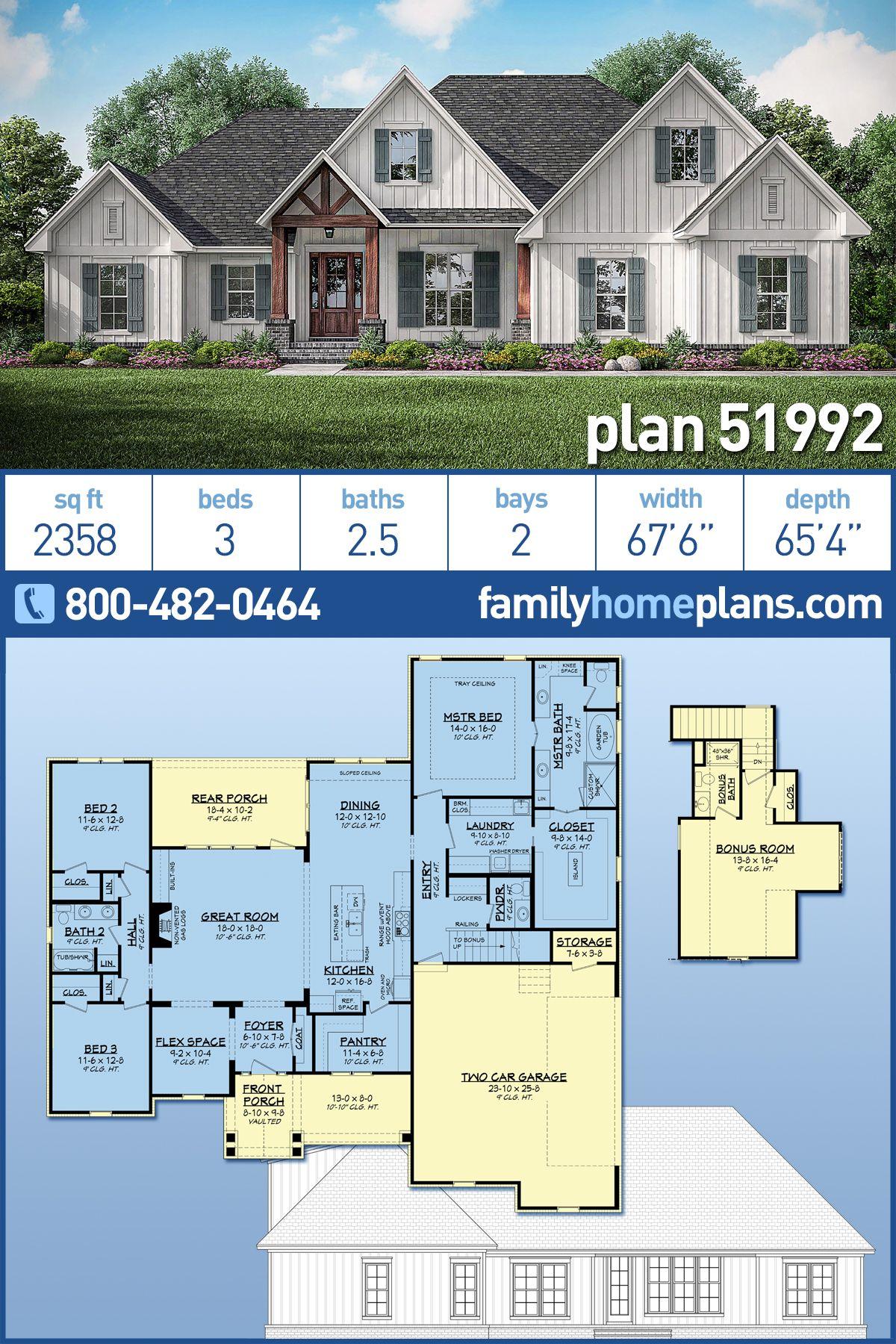 Farmhouse Style House Plan 51992 With 3 Bed 3 Bath 2 Car Garage Family House Plans House Plans Farmhouse Farmhouse Style House Plans