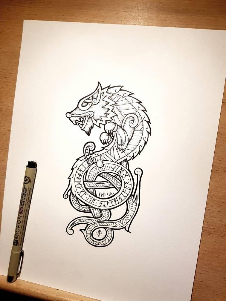 Fenrir Tattoo In 2020 Norse Tattoo Vikings Tattoo Mythology Tattoos