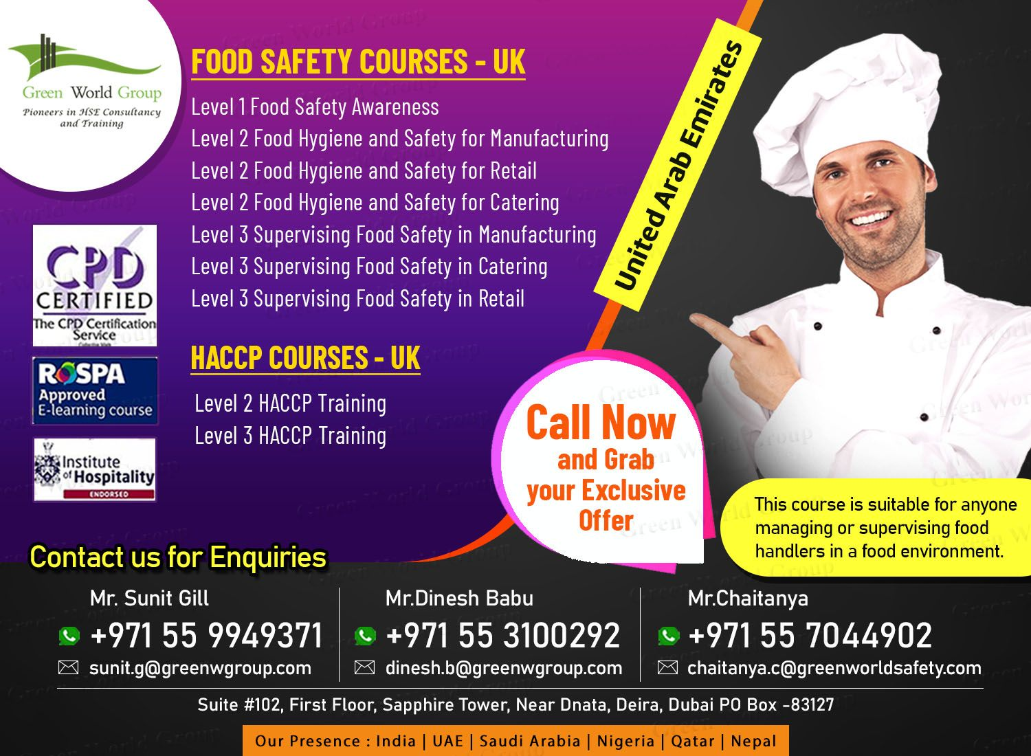 Exclusive Offer for HACCP and Food Safety courses in UAE