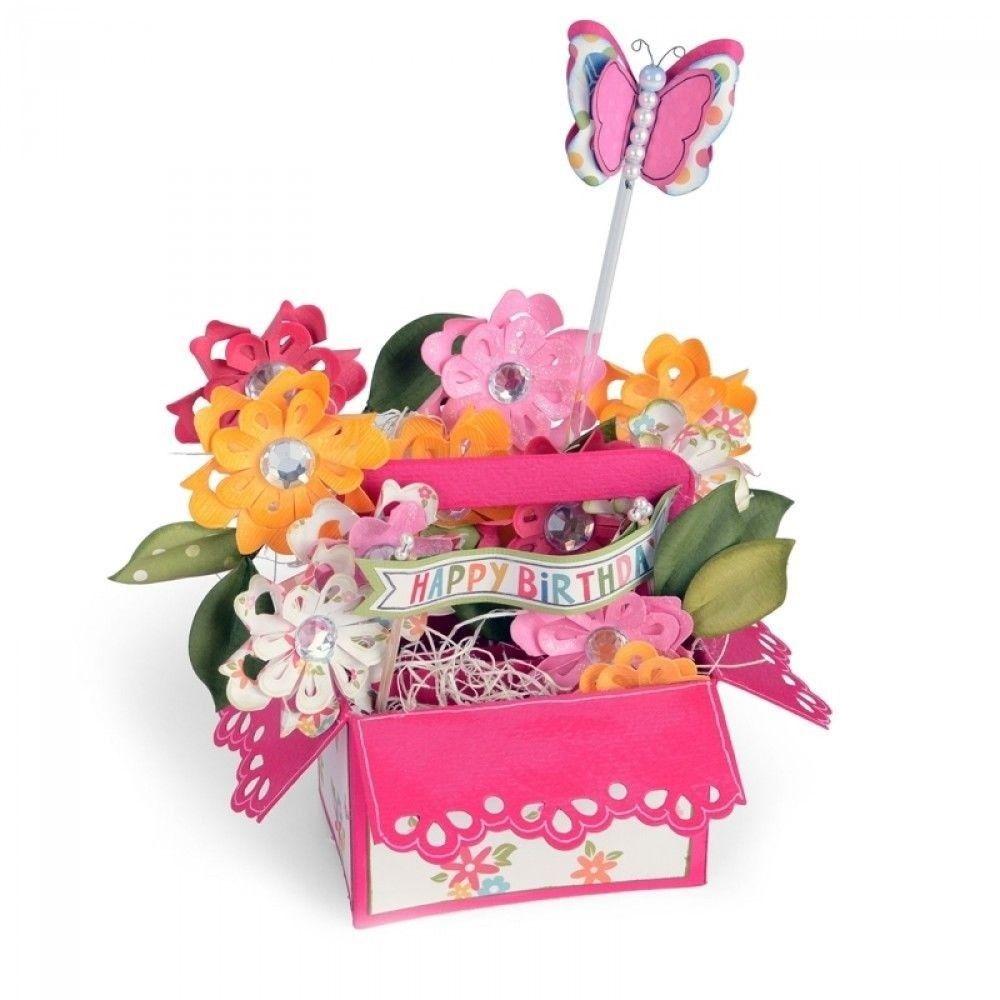 sizzix bigz xl die  660297 a2 flower basket card in a box