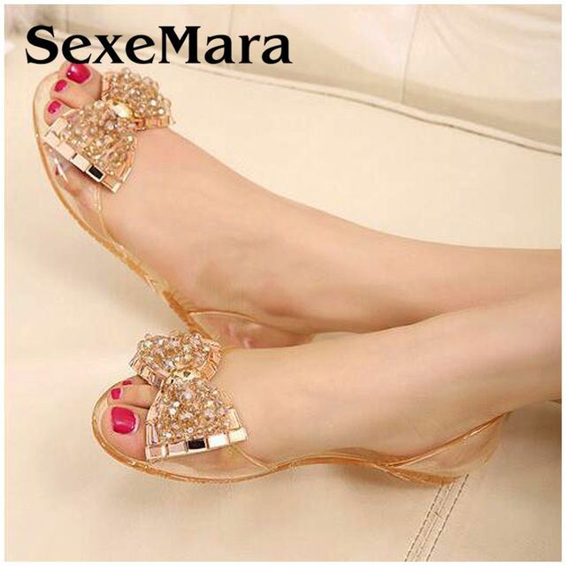 283cb8668 2016 New Fashion melissa jelly shoes women Flat sandals Transparent peep  toe crystal women summer beach shoes woman