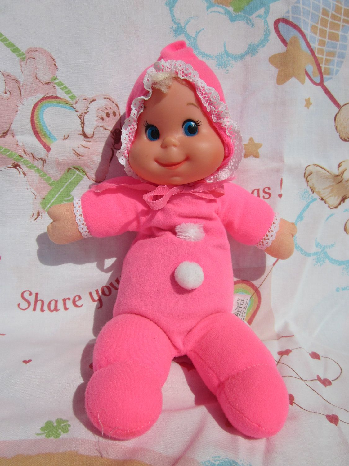 Vintage Mattel Baby Beans Doll Pink Bitty Beans Plus