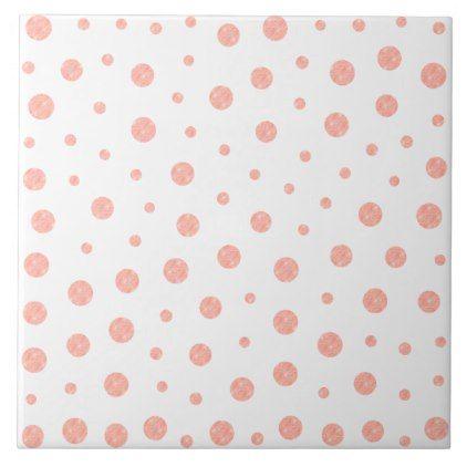 Elegant polka dots - Soft Pink Gold White Tile - minimal gifts - dot paper template