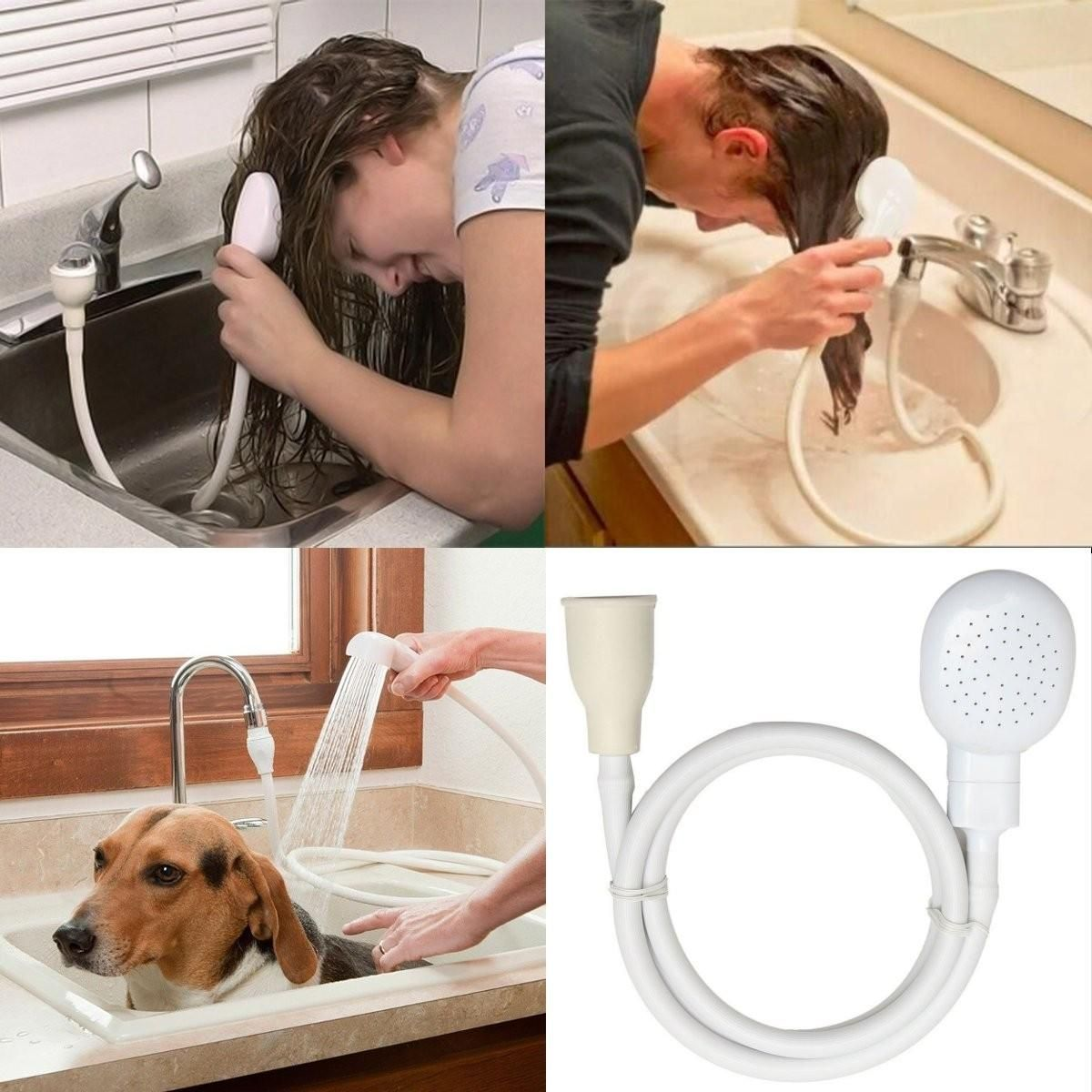 Hair Pet Dog Shower Spray Hose Bath Tub Sink Faucet Washing