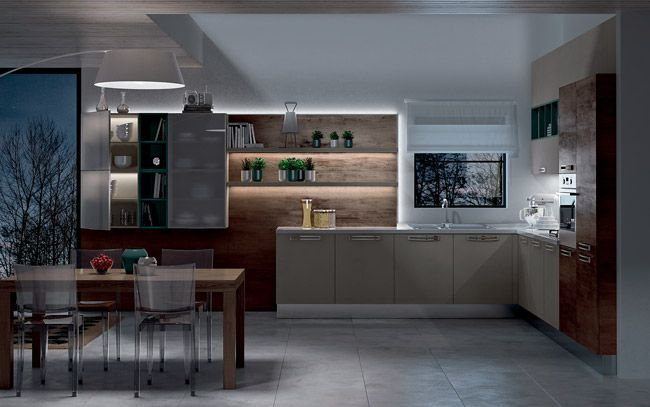 Cucina angolare moderna - Composizione 0463 - Vista notturna ...