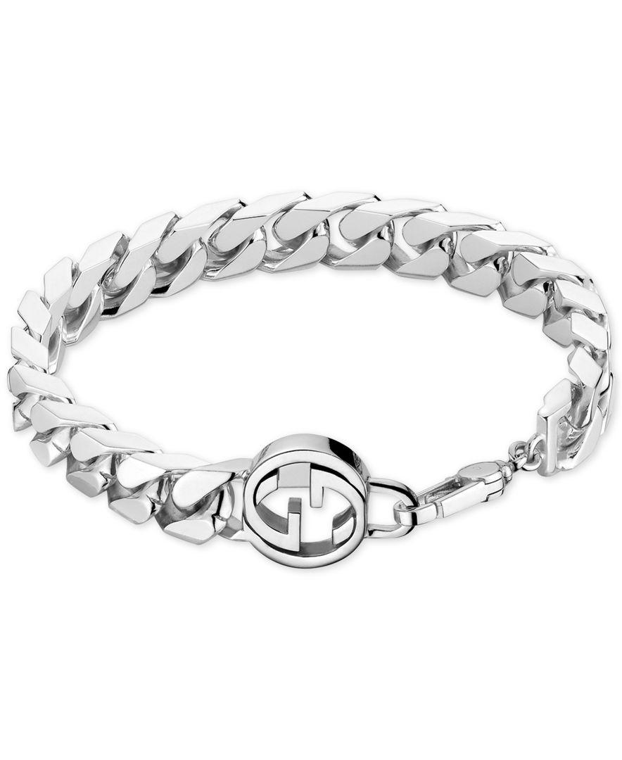 d51b218d7df Gucci Men s Sterling Silver Interlocked Gg Motif Bracelet YBA356263001021