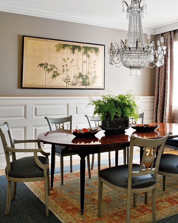 The Warm Hues Of This Top Rug Make The Dining Room More Inviting