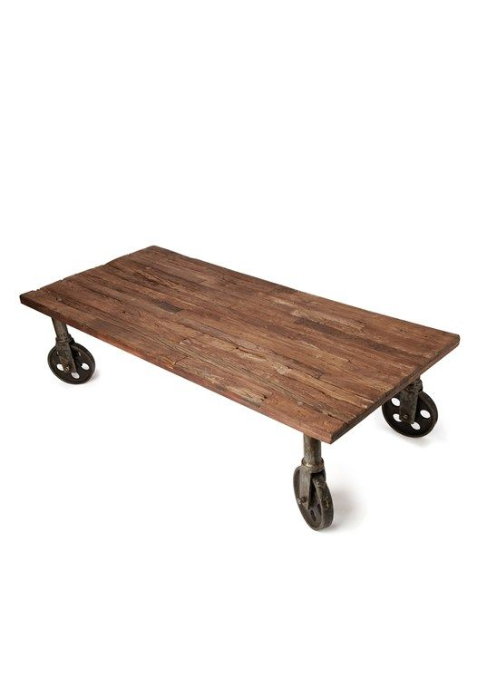 Wheely Wooden Coffee Table - french connection