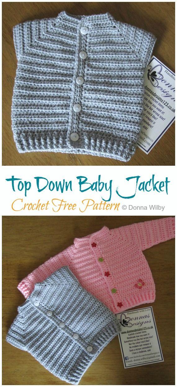 Top Down Baby Jacket Crochet Free Pattern - Crochet & Knitting