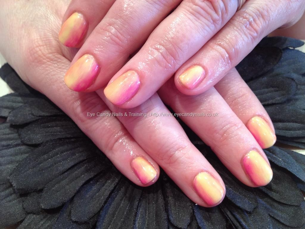 Gel Overlays With Peach Yellow And Pink 3 Colour Ombr Fade Nail