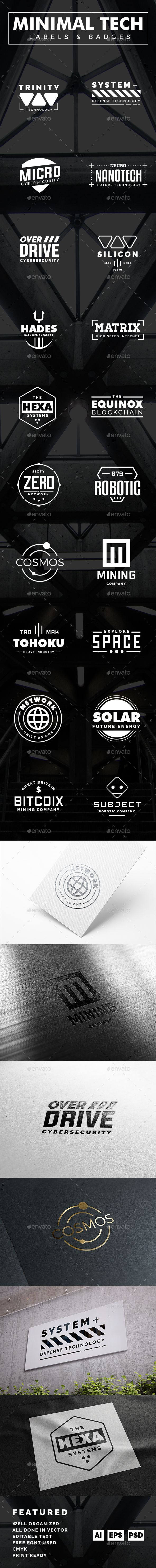 minimal tech label and badges badges ai illustrator and template