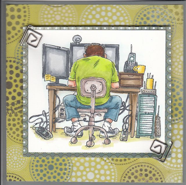 Karen marcotte mo manning cards and masculine cards computer guy copic202 by cards by karen via flickr bookmarktalkfo Gallery
