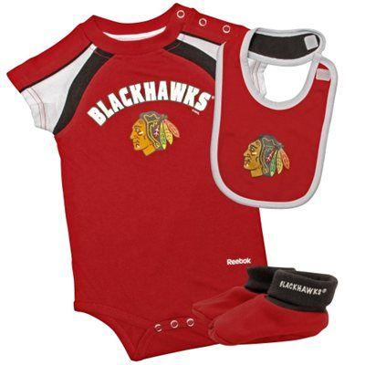 c5a4ccc37 Reebok Chicago Blackhawks Newborn Bib and Bootie Set - Red Black ...
