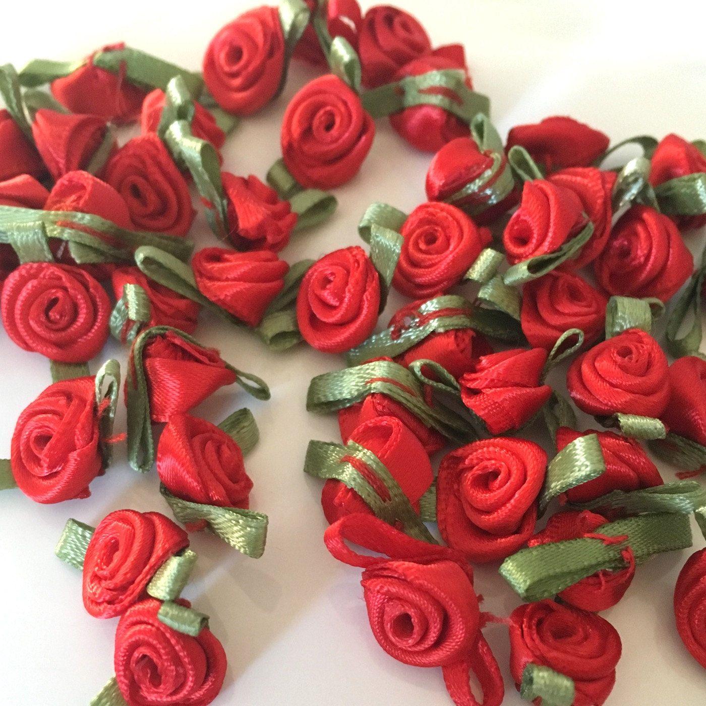 20 red ribbon roses satin ribbon roses red satin roses sew on