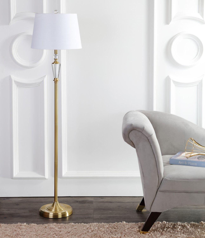 "Saul 61"" Crystal / Metal LED Floor Lamp, Brass Gold/Clear"