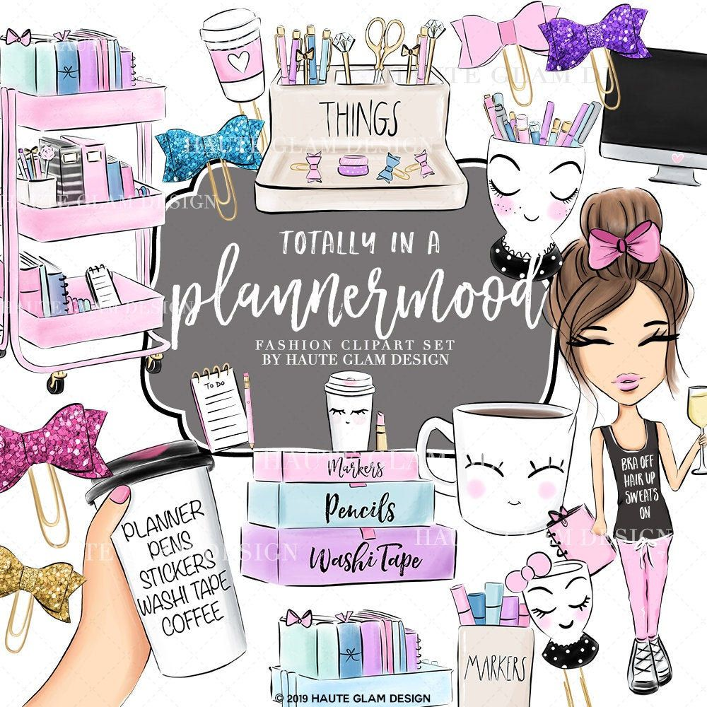 Planner Girl Digital Clipart Set Coffee And Planners Cute Pastel