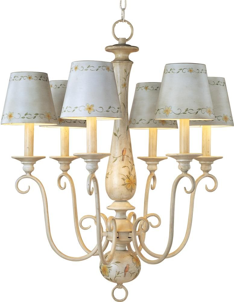 Lighting Etc Maxim 21435ccff Six Light White Chandelier French Country This Family Fea Country Chandelier French Country Chandelier Country Light Fixtures