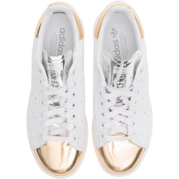 Adidas Originals Stan Smith zapatilla de cuero con el metal de oro blanco
