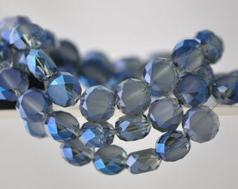 Rondelle Crystal Glass Faceted Coin beads 12mm Matte Montana Blue -(MB12-12)/ 48pcs