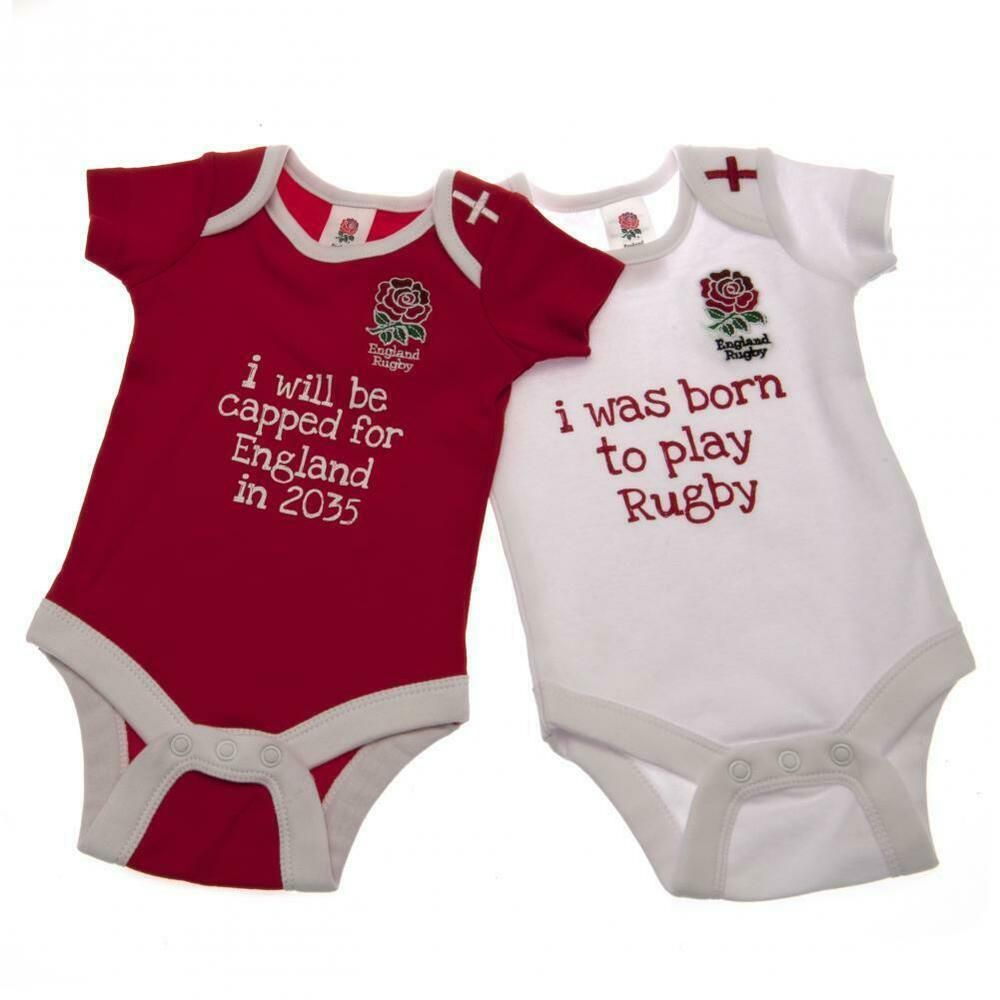 Born To Play For England Rugby Funny Babygrow Vest Baby Clothing Gift