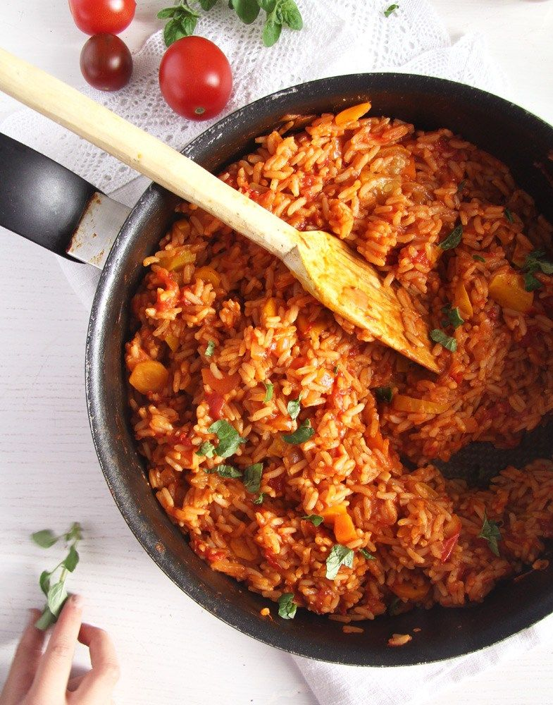 Vegan And Healthy Tomato Rice With Zucchini And Carrots Tomato Rice Vegan Dinner Recipes Easy Tomato Paste Recipe